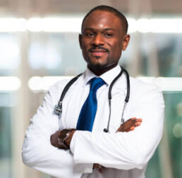 african american irtual doctor with stethoscope